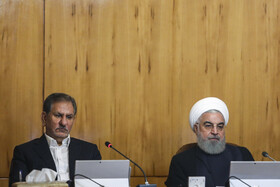 Iranian President Hassan Rouhani (R) and Iranian First-Vice President Es'haq Jahangiri are present in Iran's cabinet session, Tehran, Iran, May 22, 2019.