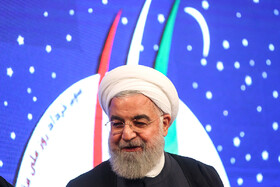 Iranian President Hassan Rouhani is present at the 12th National Conference for Praising War Veterans, Tehran, Iran, May 23.
