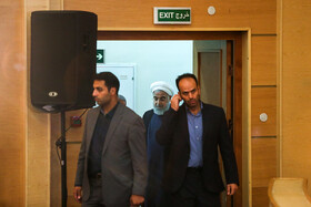 Iranian President Hassan Rouhani enters Iran International Conference Centre to attend the 12th National Conference for Praising War Veterans, Tehran, Iran, May 23.