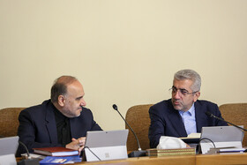 Iran's Minister of Energy Reza Ardakanian (R) and Minister of Youth Affairs and Sports Masoud Soltanifar are present in Iran's cabinet session, Tehran, Iran, May 29, 2019.