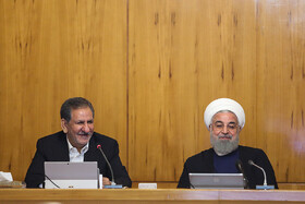 Iranian President Hassan Rouhani (R) and Iran's First Vice President Es'haq Jahangiri are present in Iran's cabinet session, Tehran, Iran, May 29, 2019.