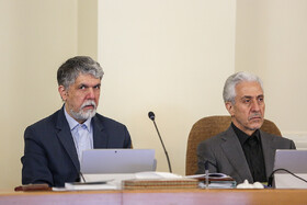 Minister of Culture and Islamic Guidance Abbas Salehi (L) and Minister of Science, Research and Technology Mansour Gholami are present in Iran's cabinet session, Tehran, Iran, May 29, 2019.