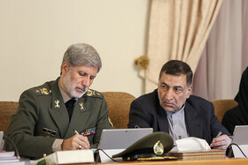 Iranian Minister of Defense Brigadier General Amir Hatami (L) and Iranian Justice Minister Alireza Avayi (M) are present in Iran's cabinet session, Tehran, Iran, May 29, 2019.