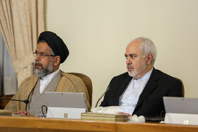 Iranian Foreign Minister Mohammad Javad Zarif (R) and Iran's Intelligence Minister Mahmoud Alavi are present in Iran's cabinet session, Tehran, Iran, May 29, 2019.