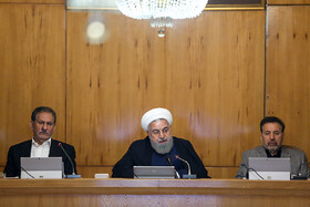 Iranian President Hassan Rouhani (M), Iran's First Vice President Es'haq Jahangiri (L) and Iranian President's Chief of Staff Mahmoud Vaezi are present in Iran's cabinet session, Tehran, Iran, May 29, 2019.
