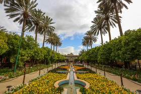 """Magnificent Qavam House, Shiraz, Iran, June 1, 2019. """"Qavam House"""", a beautiful building surrounded with lovely gardens that you can walk through and experience the old times and enjoy the beauty and art of its lovely surroundings, is located in Shiraz City of Iran."""