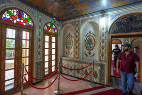 Magnificent Qavam House, Shiraz, Iran, June 1, 2019. You can find the arts of stucco, Persian miniature, Āina-kāri (a kind of interior decoration made by Iranian artists by putting small pieces of mirror together), brickwork, stone carving, mosaic and wood carving which have been appeared in full beauty all over the House alongside pretty gardens.