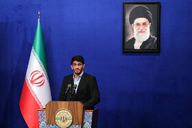 Iran's Olympic and world champion freestyle wrestler Hassan Yazdani delivers a speech during the Iranian President's meeting with athletes, Tehran, Iran, June 1, 2019.