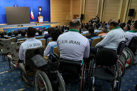 Iranian President Hassan Rouhani delivers a speech during his meeting with athletes, Tehran, Iran, June 1, 2019.