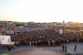 Offering Eid al-Fitr Prayers, Ardebil, Iran, June 5, 2019. Eid al-Fitr is a celebration which shows the end of Muslim fasting month of Ramadan and Muslims celebrate it with offering prayers after a month of fasting.