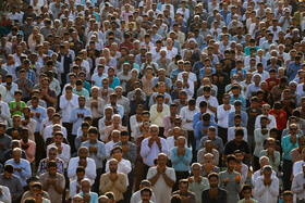 Offering Eid al-Fitr Prayers, Bandar-e Abbas, Iran, June 5, 2019. Eid al-Fitr is a celebration which shows the end of Muslim fasting month of Ramadan and Muslims celebrate it with offering prayers after a month of fasting.