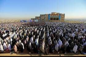 Offering Eid al-Fitr Prayers, Hamedan, Iran, June 5, 2019. Eid al-Fitr is a celebration which shows the end of Muslim fasting month of Ramadan and Muslims celebrate it with offering prayers after a month of fasting.