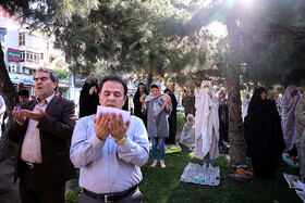 Offering Eid al-Fitr Prayers, Tehran, Iran, June 5, 2019. Eid al-Fitr is a celebration which shows the end of Muslim fasting month of Ramadan and Muslims celebrate it with offering prayers after a month of fasting.