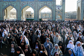 Offering Eid al-Fitr Prayers at Imam Reza Holy Shrine, Mashhad, Iran, June 5, 2019.