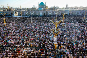 Offering Eid al-Fitr Prayers at Imam Reza Holy Shrine, Mashhad, Iran, June 5, 2019. Eid al-Fitr is a celebration which shows the end of Muslim fasting month of Ramadan and Muslims celebrate it with offering prayers after a month of fasting.