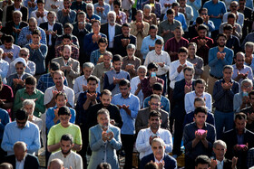 Offering Eid al-Fitr Prayers, Kermanshah, Iran, June 5, 2019. Eid al-Fitr is a celebration which shows the end of Muslim fasting month of Ramadan and Muslims celebrate it with offering prayers after a month of fasting.
