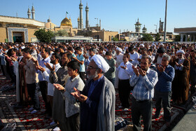 Offering Eid al-Fitr Prayers at Fatima Masumeh Holy Shrine, Qom, Iran, June 5, 2019.