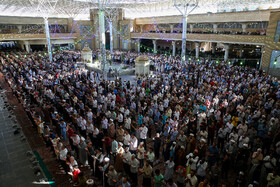 Offering Eid al-Fitr Prayers at Fatima Masumeh Holy Shrine, Qom, Iran, June 5, 2019. Eid al-Fitr is a celebration which shows the end of Muslim fasting month of Ramadan and Muslims celebrate it with offering prayers after a month of fasting.