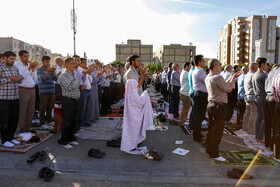 Offering Eid al-Fitr Prayers, Qazvin, Iran, June 5, 2019. Eid al-Fitr is a celebration which shows the end of Muslim fasting month of Ramadan and Muslims celebrate it with offering prayers after a month of fasting.