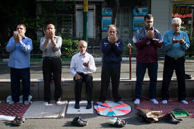 Offering Eid al-Fitr Prayers, Tabriz, Iran, June 5, 2019. Eid al-Fitr is a celebration which shows the end of Muslim fasting month of Ramadan and Muslims celebrate it with offering prayers after a month of fasting.