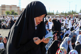Offering Eid al-Fitr Prayers, Birjand, Iran, June 5, 2019. Eid al-Fitr is a celebration which shows the end of Muslim fasting month of Ramadan and Muslims celebrate it with offering prayers after a month of fasting.