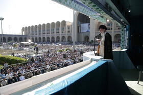 Iran's Supreme Leader Ayatollah Ali Khamenei delivers a speech after Eid al-Fitr Prayers at Imam Khomeini Musalla, Tehran, Iran, June 5, 2019.