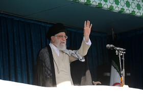 Iran's Supreme Leader Ayatollah Ali Khamenei delivers a speech after Eid al-Fitr Prayers at Imam Khomeini Musalla, Tehran, Iran, June 5, 2019. Eid al-Fitr is a celebration which shows the end of Muslim fasting month of Ramadan and Muslims celebrate it with offering prayers after a month of fasting.