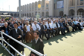 People of Tehran offer Eid al-Fitr Prayers lead by Iran's Supreme Leader at Imam Khomeini Musalla, Tehran, Iran, June 5, 2019. Eid al-Fitr is a celebration which shows the end of Muslim fasting month of Ramadan and Muslims celebrate it with offering prayers after a month of fasting.