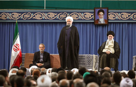 Iranian President Hassan Rouhani delivers a speech in a meeting between Iran's Supreme Leader Ayatollah Ali Khamenei and officials, ambassadors from Islamic countries and people, June 5, 2019.