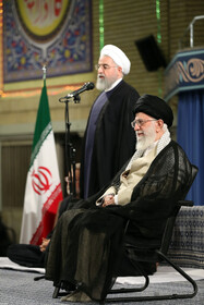 Iranian President Hassan Rouhani (L) delivers a speech in a meeting between Iran's Supreme Leader Ayatollah Ali Khamenei and officials, ambassadors from Islamic countries and people, June 5, 2019.
