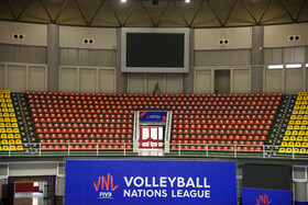 Banners of FIVB Volleyball Men's Nations League are seen inside Ghadir Arena, urmia, Iran, June 11, 2019. Ghadir Arena of Urmia, which has a seating capacity of six thousand, is only used for volleyball matches.