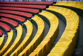 New seats of Ghadir Arena are seen in the photo, Urmia, Iran, June 11, 2019. The third week of FIVB Volleyball Men's Nations League is going to be held at Ghadir Arena of Urmia.