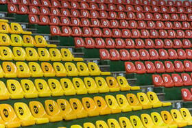 Spectators seating of Ghadir Arena is seen in the photo, Urmia, Iran, June 11, 2019.  All the seats of Ghadir Arena of Urmia have been numbered before the beginning of the third week of FIVB Volleyball Men's Nations League in Urmia.