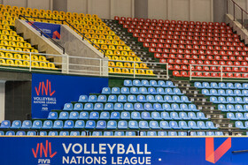 This part of spectators seating of Urmia's Ghadir Arena is only used by women who want to be in the sports stadium, Urmia, Iran, June 11, 2019.