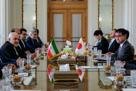 Iranian Foreign Minister Mohammad Javad Zarif, accompanied by Iranian officials, meets with Japanese Foreign Minister and other Japanese officials, Tehran, Iran, June 12, 2019.