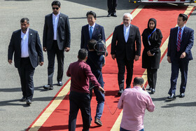 Japanese Prime Minister Shinzo Abe is welcomed by Iranian Foreign Minister Mohammad Javad Zarif in Tehran, Iran, June 12, 2019.