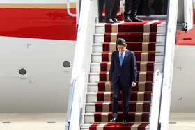 Japanese Prime Minister Shinzo Abe gets off the plane, Tehran, Iran, June 12, 2019.
