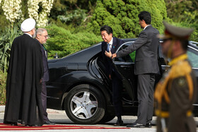 Japanese Prime Minister Shinzo Abe is officially welcomed by Iranian President Hassan Rouhani at Sa'dabad Cultural-Historical Complex, Tehran, Iran, June 12, 2019.