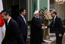 Japanese officials are welcomed by Iranian President Hassan Rouhani, Tehran, Iran, June 12, 2019.