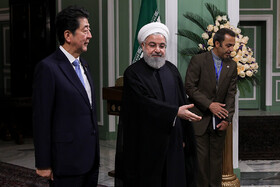 Japanese Prime Minister Shinzo Abe (L) is officially welcomed by Iranian President Hassan Rouhani, Tehran, Iran, June 12, 2019.
