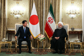 Meeting between Iranian President Hassan Rouhani (R) and Japanese Prime Minister Shinzo Abe, Tehran, Iran, June 12, 2019.
