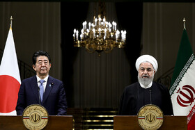 Joint press conference between Iranian President Hassan Rouhani (R) and Japanese Prime Minister Shinzo Abe, Tehran, Iran, June 12, 2019.