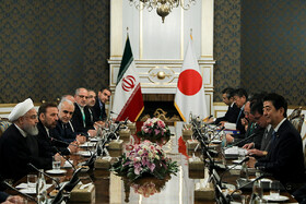Bilateral talks between Iranian President Hassan Rouhani, accompanied by Iranian officials, and Japanese Prime Minister Shinzo Abe, accompanied by a high-ranking delegation, Tehran, Iran, June 12, 2019.