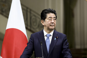 Japanese Prime Minister Shinzo Abe is seen during his Joint press conference with Iranian President Hassan Rouhani, Tehran, Iran, June 12, 2019.