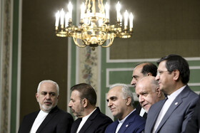Iranian officials are present during the joint press conference between Iranian President Hassan Rouhani and Japanese Prime Minister Shinzo Abe, Tehran, Iran, June 12, 2019