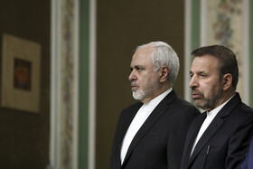 Iranian Foreign Minister Mohammad Javad Zarif (L) is present during the joint press conference between Iranian President Hassan Rouhani and Japanese Prime Minister Shinzo Abe, Tehran, Iran, June 12, 2019.
