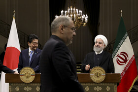 Joint press conference between Iranian President Hassan Rouhani (R) and Japanese Prime Minister Shinzo Abe, Tehran, Iran, June 12, 2019