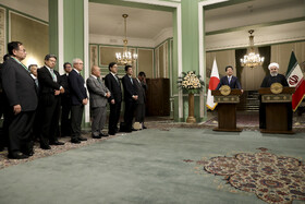 Joint press conference between Iranian President Hassan Rouhani and Japanese Prime Minister Shinzo Abe, Tehran, Iran, June 12, 2019