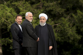 Iranian President Hassan Rouhani (R), Iranian Foreign Minister Mohammad Javad Zarif (M) and Iranian President's Chief of Staff Mahmoud Vaezi are present at Sa'dabad Cultural-Historical Complex to welcome Japanese Prime Minister Shinzo Abe, Tehran, Iran, June 12, 2019.