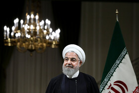 Iranian President Hassan Rouhani is seen during his Joint press conference with Japanese Prime Minister Shinzo Abe, Tehran, Iran, June 12, 2019.